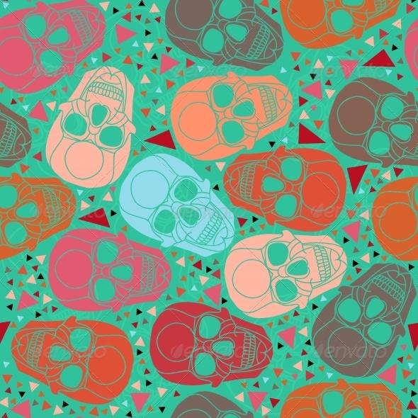 GraphicRiver Skull with Geometric Polygonal Ornament 8293226