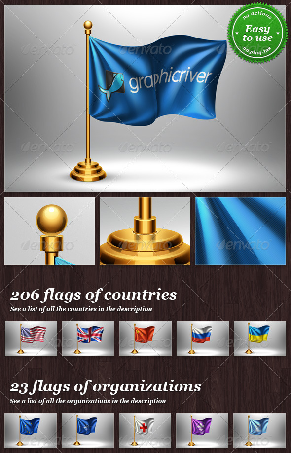 GraphicRiver Table Flag with Logo or Country Mock-up 8275369
