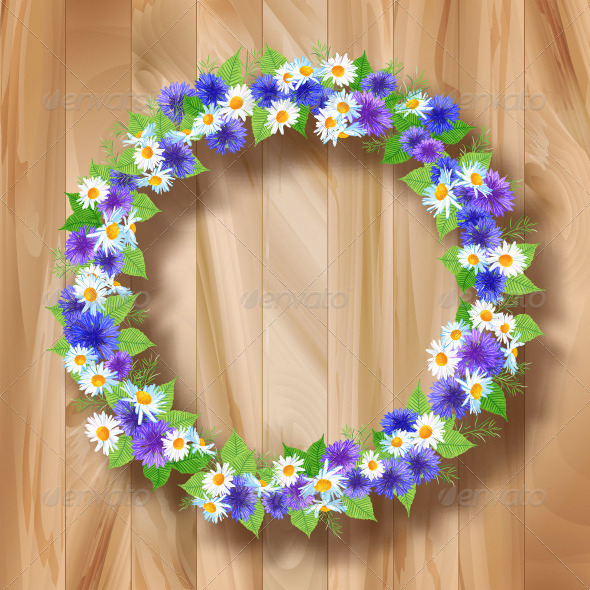 GraphicRiver Flowers Vector Wreath Greeting Card 8293402