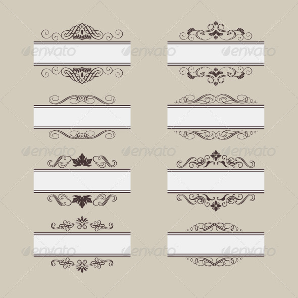 GraphicRiver Vintage Vector Frame Border Set 8293429