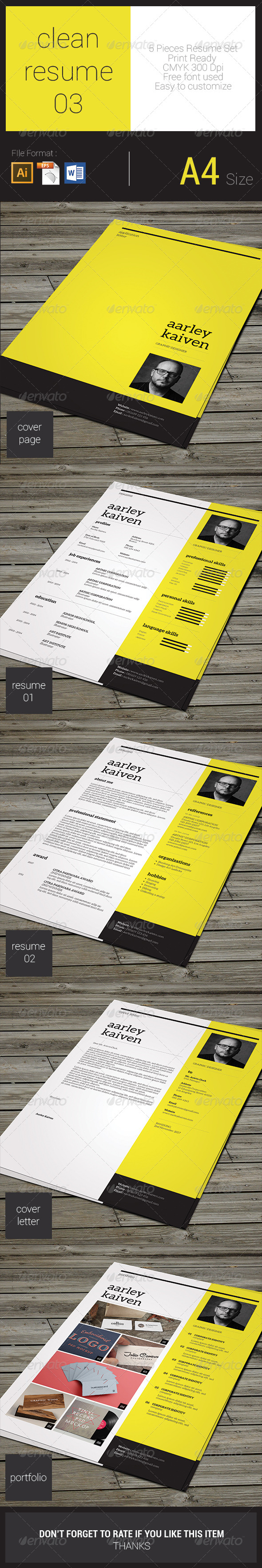GraphicRiver Clean Resume Set 03 8293487