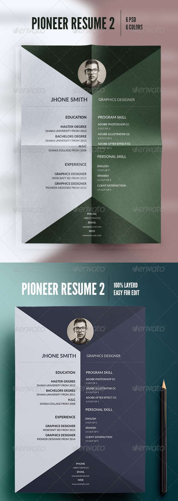 GraphicRiver Pioneer Resume 2 8293497