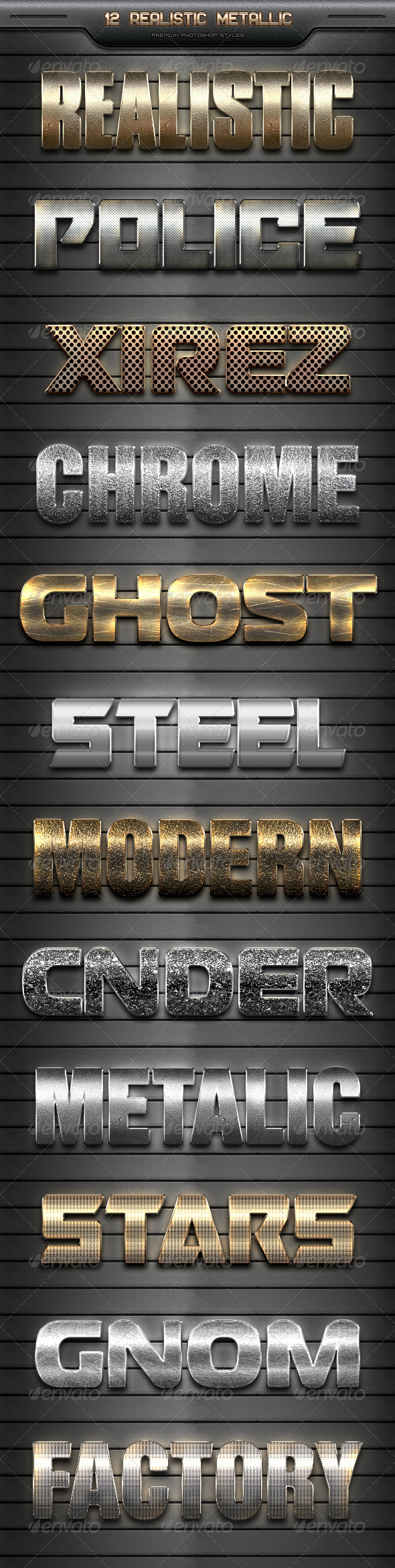 GraphicRiver 12 Realistic Metallic Styles 8293565