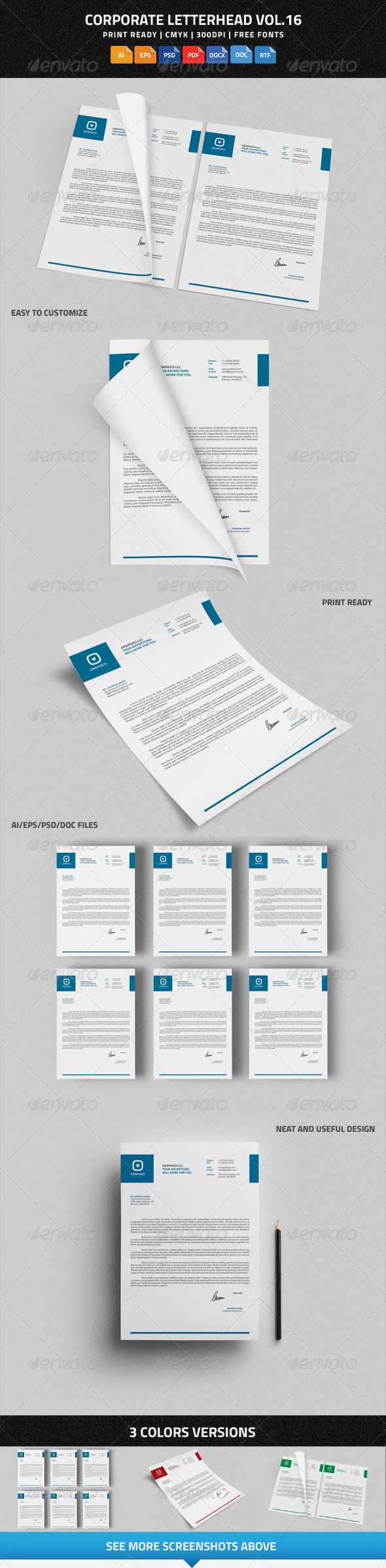 GraphicRiver Corporate Letterhead vol.16 with MS Word DOC DOCX 8293634