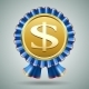 Dollar Sign in a Blue Ribbon Rosette - GraphicRiver Item for Sale