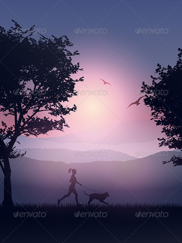 GraphicRiver Female Jogging in the Countryside with her Dog 8293861