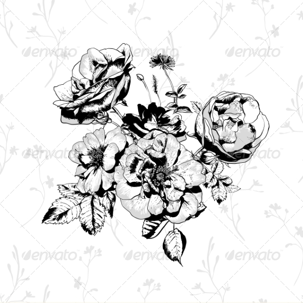 GraphicRiver Black and White Floral Greeting Card 8293867