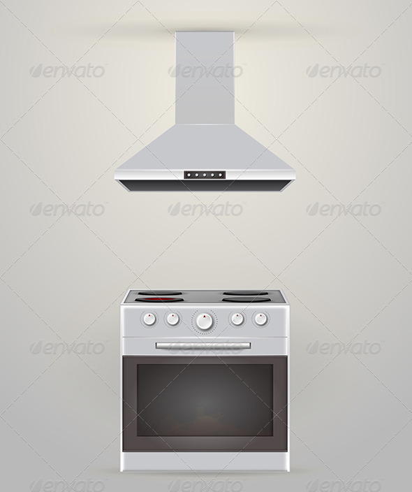 GraphicRiver Illustration of Stove and Extractor 8293983
