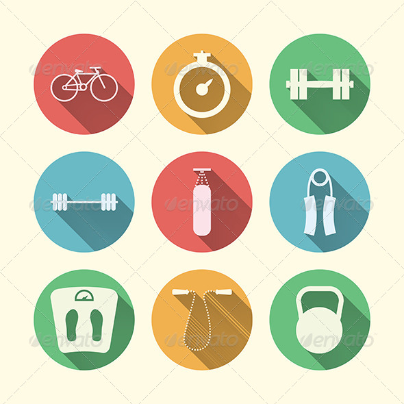 GraphicRiver Flat Icons for Sport 8294132