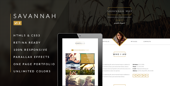 Savannah - Responsive vCard Portfolio - Virtual Business Card Personal