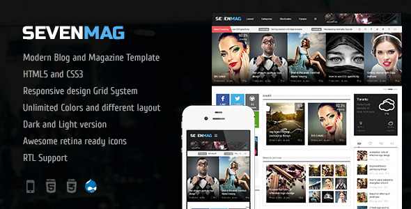 ThemeForest SevenMag Blog Magzine Games News Drupal Theme 8226704