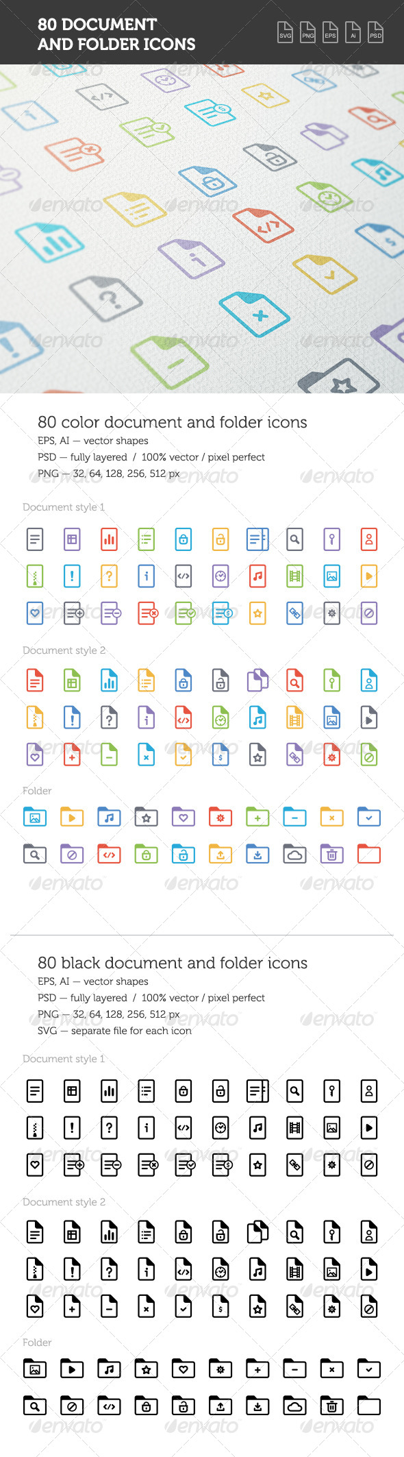 GraphicRiver Document and Folder Icon Set 8294722