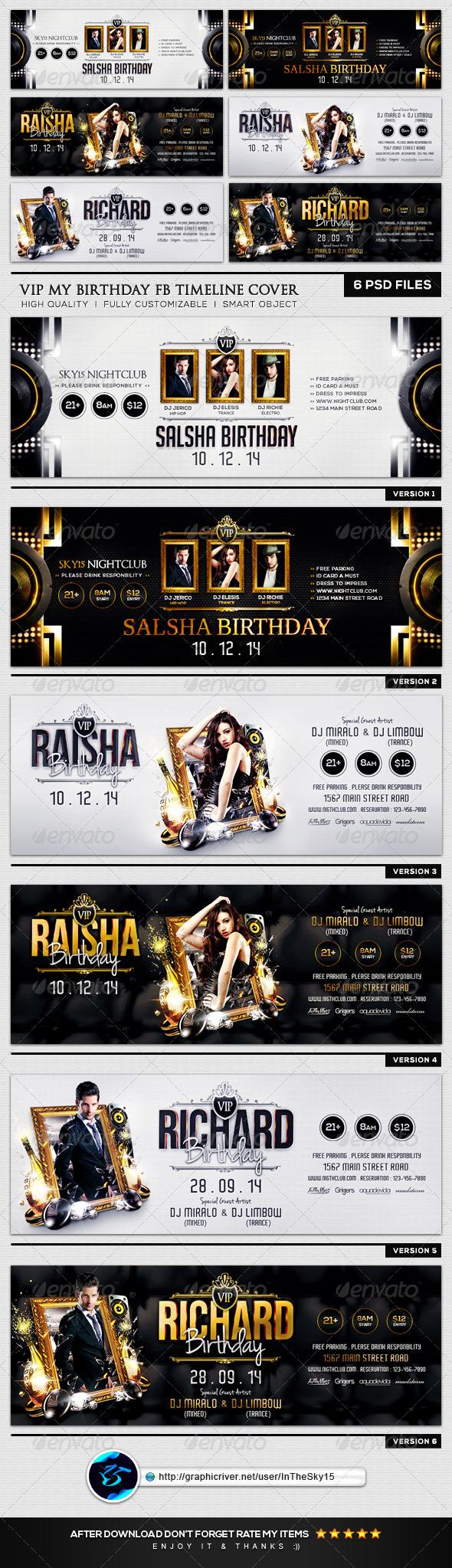 GraphicRiver VIP My Birthday FB Timeline Cover 8294791