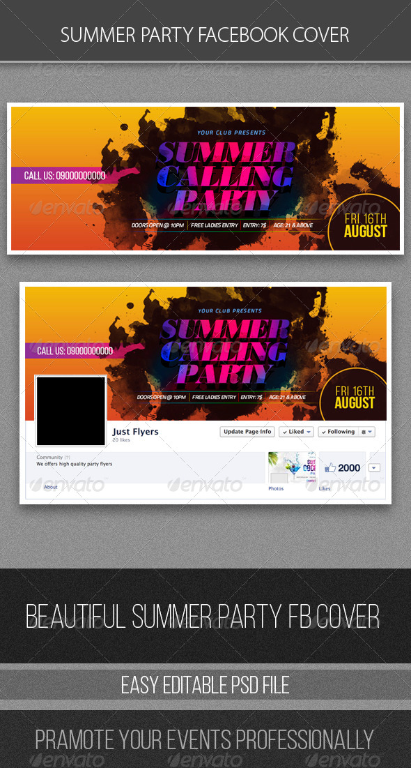 GraphicRiver Summer Party FB Cover 8294809