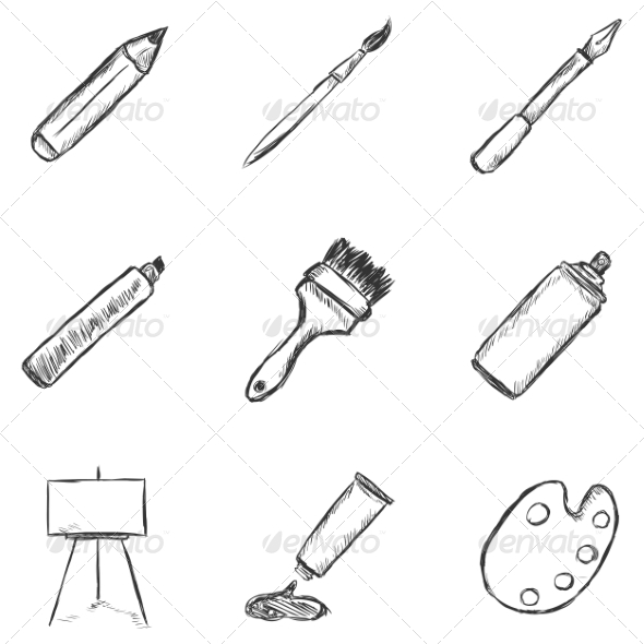GraphicRiver Set of Sketch Drawing Icons 8294818