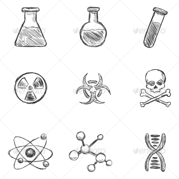 Set of Sketch Chemistry Icons