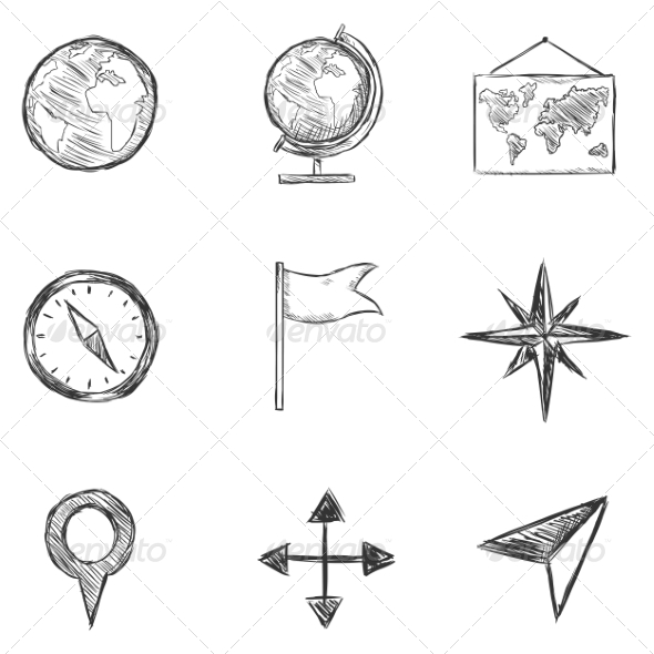 GraphicRiver Set of Sketch Geography and Navigation Icons 8294823