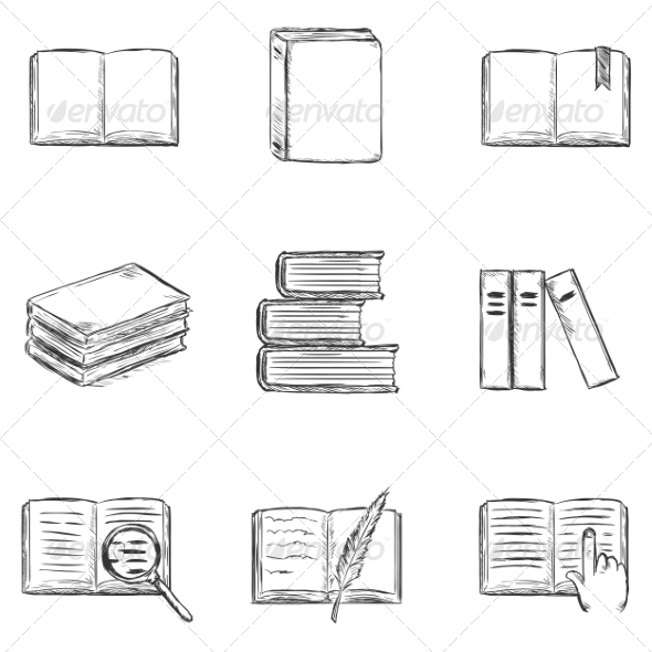 GraphicRiver Set of Sketch Books Icons 8294829