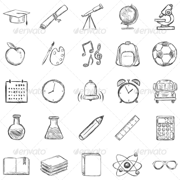 GraphicRiver Set of 25 Sketch School Icons 8294830