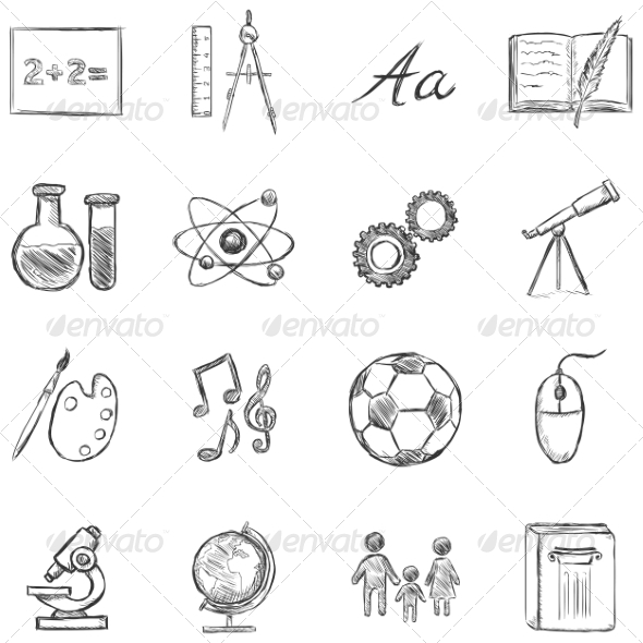 GraphicRiver Set of School Subjects Icons 8294835