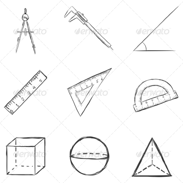 GraphicRiver Vector Set of Sketch Geometry Icons 8294836