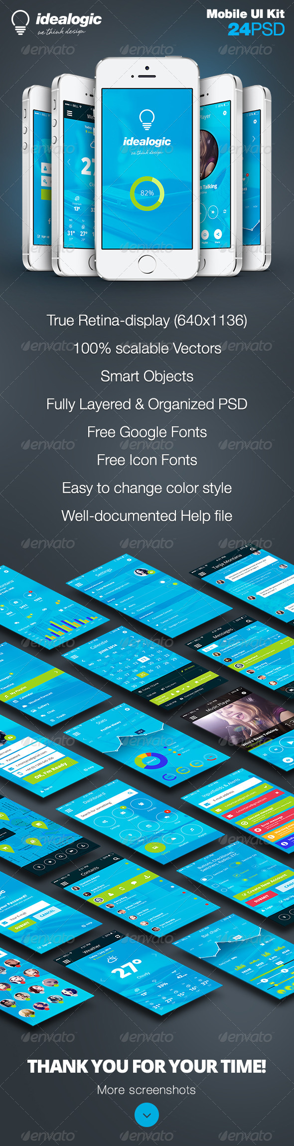 GraphicRiver Idealogic Flat Mobile App UI Design 8294953