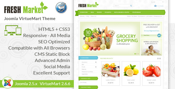 Fresh Market - Responsive VirtueMart Template - Food Retail