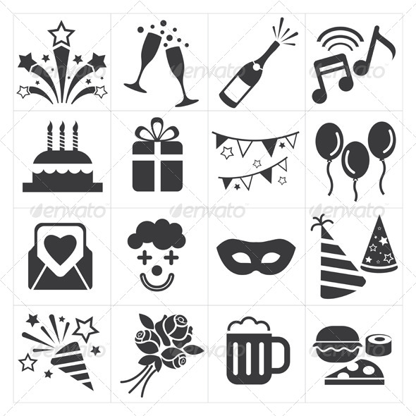 GraphicRiver Party Celebration Icons 8295046