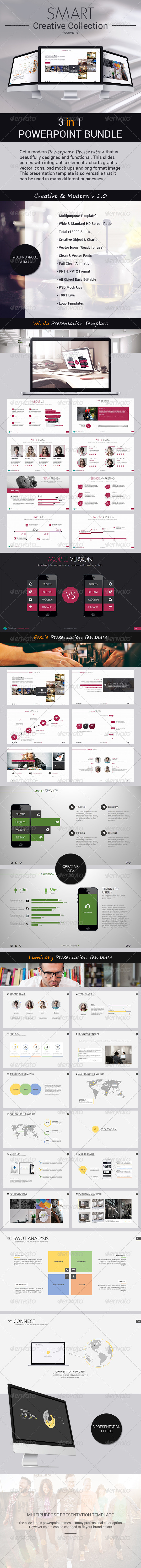 GraphicRiver SMART Bundle 3 in 1 Powerpoint Presentations 8295129