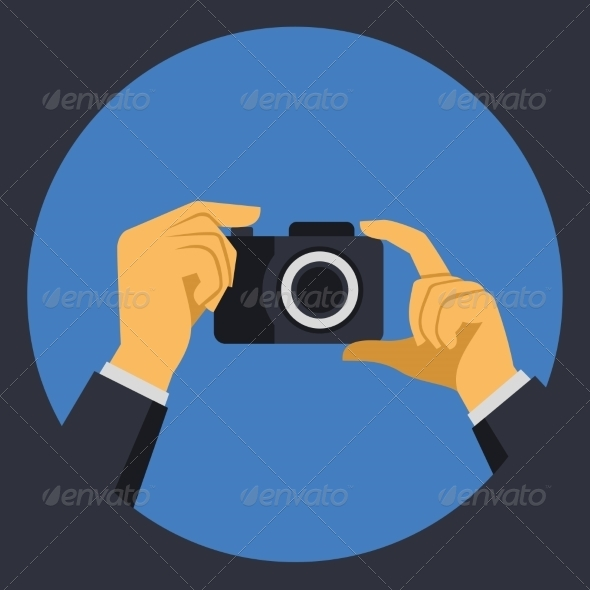 Digital Photo Camera with Hands in Flat Retro Style
