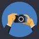 Digital Photo Camera with Hands in Flat Retro Style - GraphicRiver Item for Sale