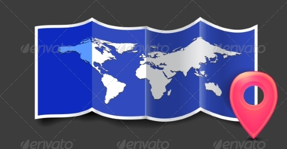 GraphicRiver Folded World Map with GPS Marks 8295150