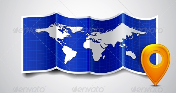 GraphicRiver Folded World Map with GPS Marks 8295154