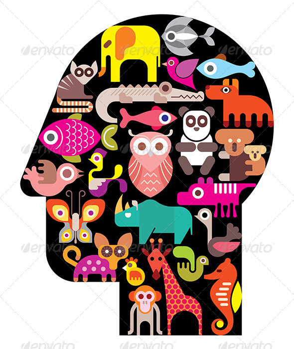 GraphicRiver Human Head with Animal Icons 8295155