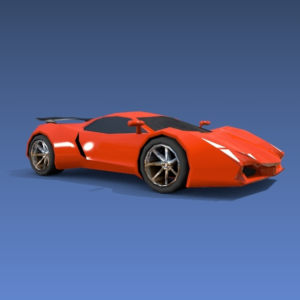 Lowpoly sports car concept - 3DOcean Item for Sale