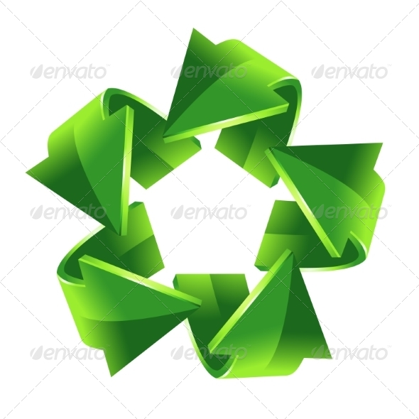 GraphicRiver Five Green Recycling Arrows 8295292