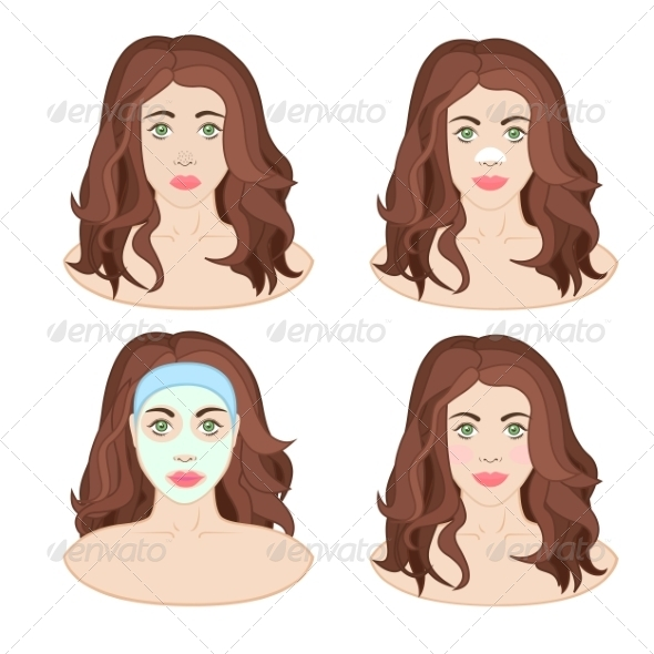GraphicRiver Woman Caring for Skin 8295348