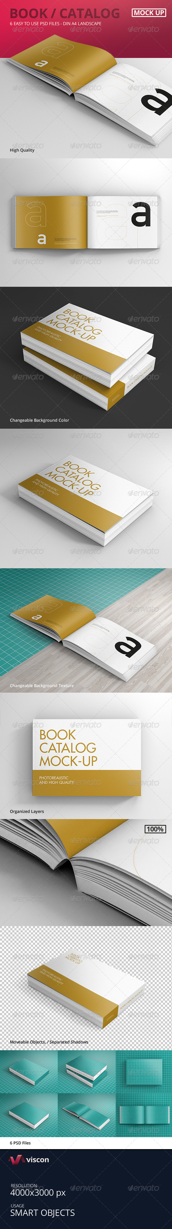 Book Catalog Mock-Ups Landscape