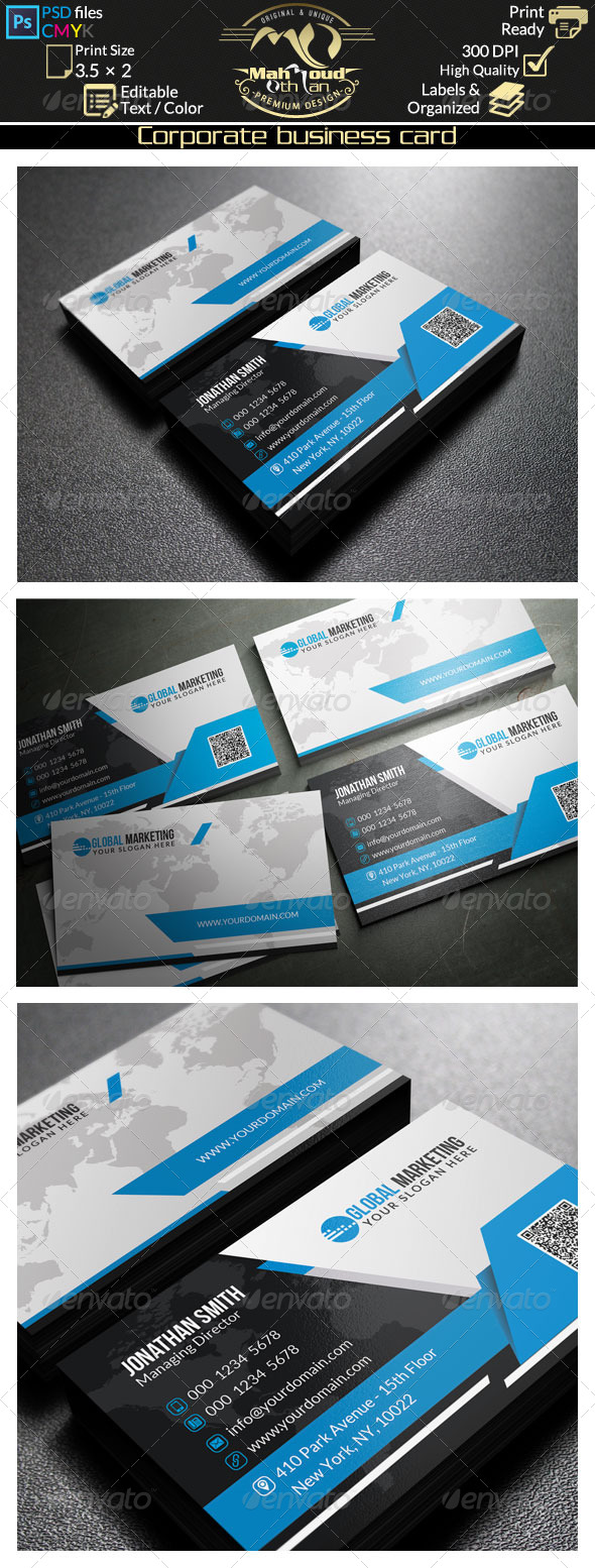 GraphicRiver Black And Blue Business Card 37 8295633