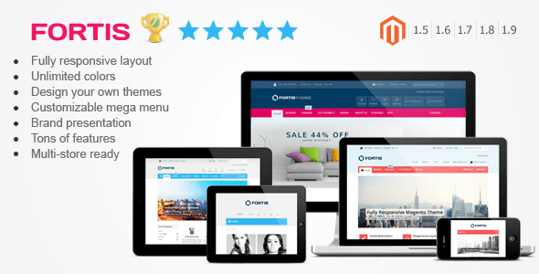 Fortis - Responsive Magento Theme - Fortis 2 is fully responsive premium Magento theme with administrative module, suitable for every type of store. It was designed with focus on user experience and usability, to make Magento shopping quick, easy and fun.