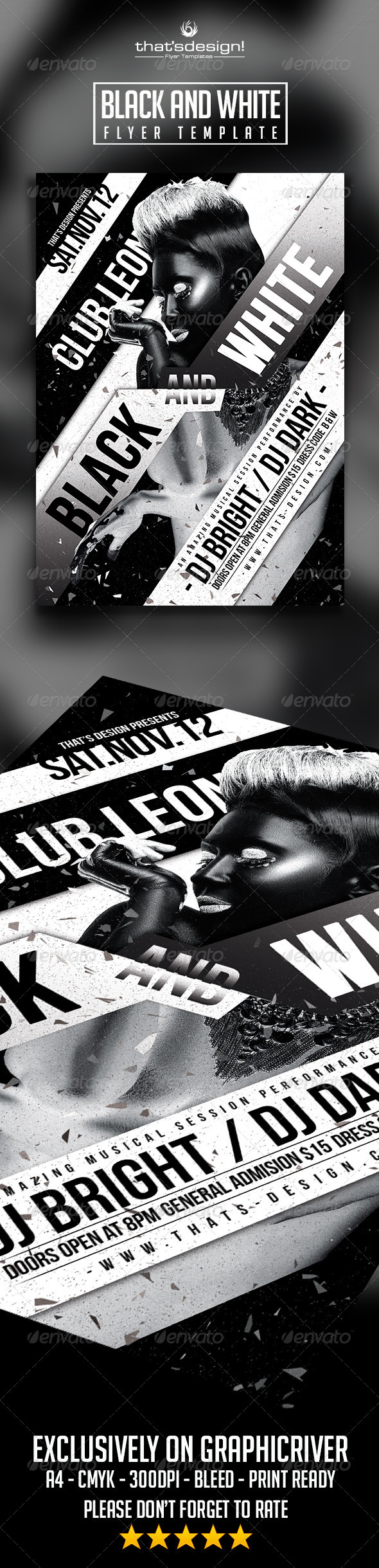 GraphicRiver Black and White Party Flyer Template 8295776