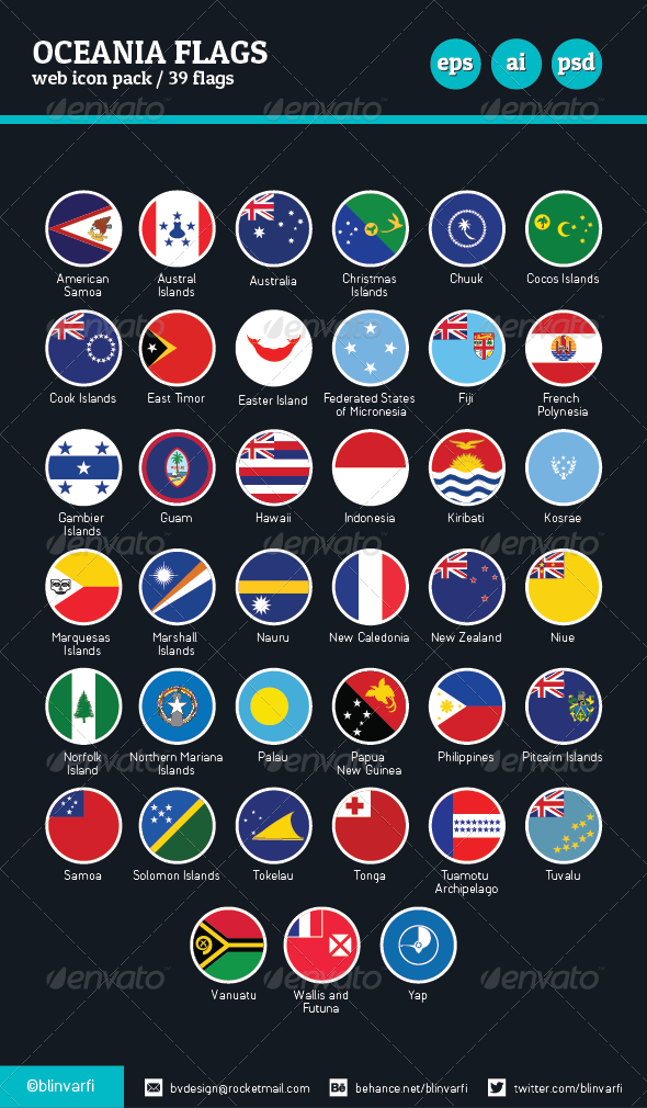Oceania Flags Vector / Flat & Glossy - Web Icons