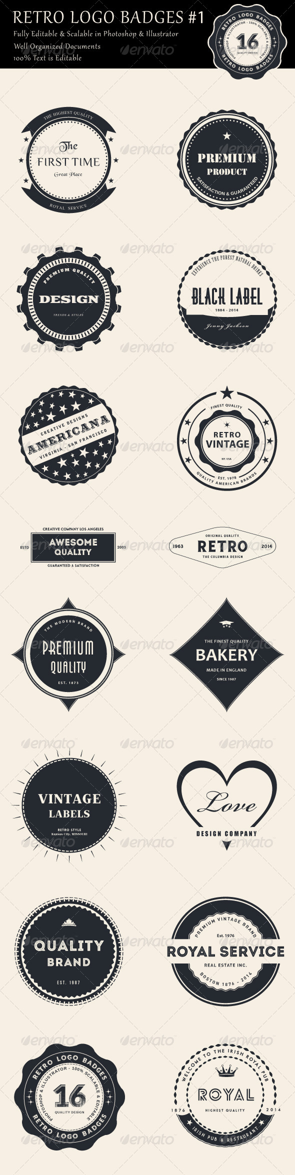 GraphicRiver 16 Retro Logo Badges #1 8275553