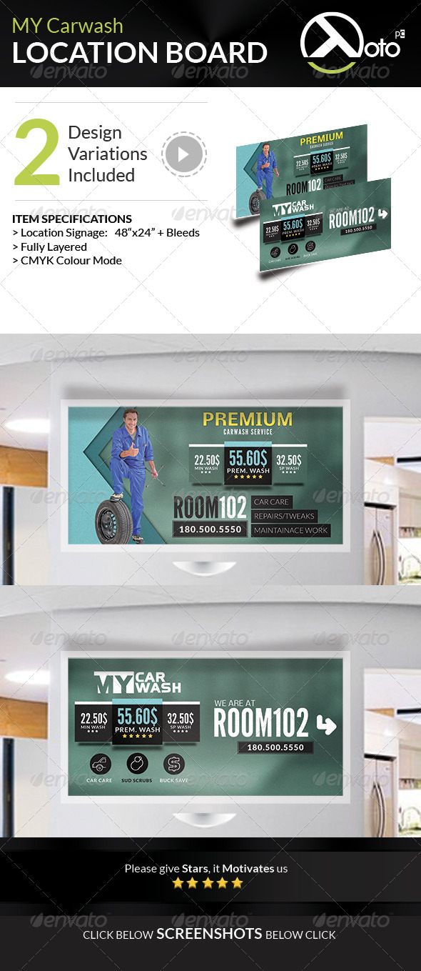 GraphicRiver MY Automobile Carwash Service Location Boards 8275851
