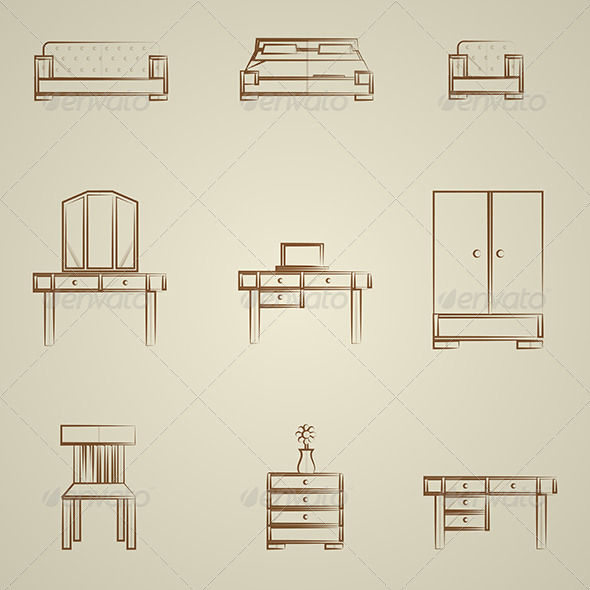 GraphicRiver Icons for Furniture 8296495