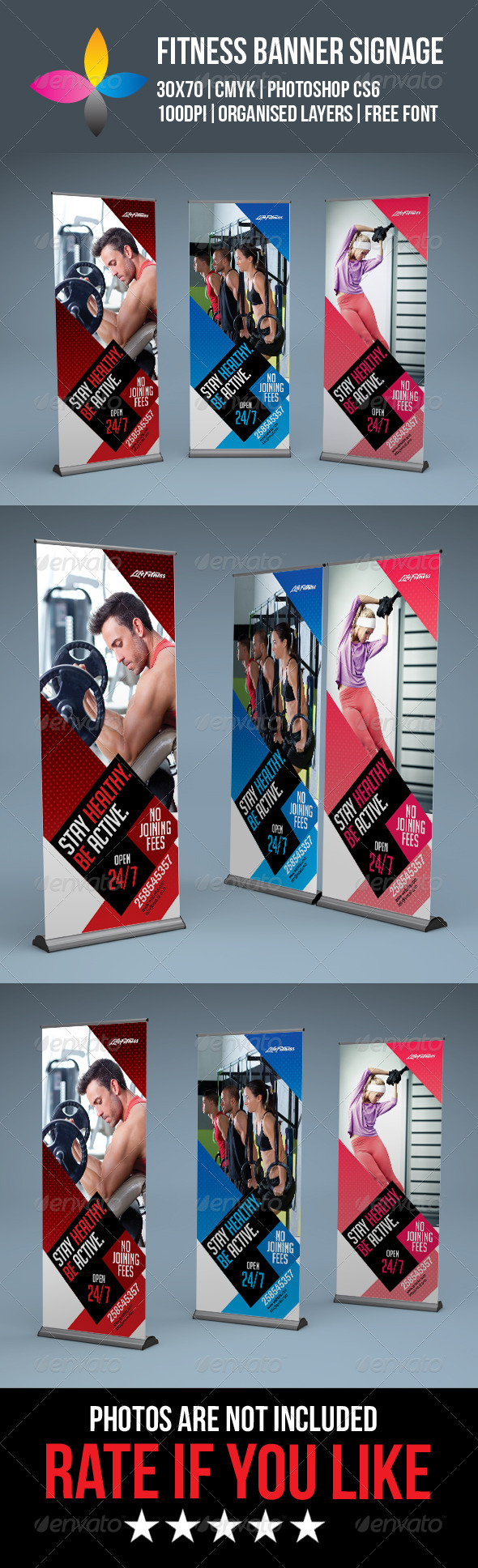 GraphicRiver Fitness Roll Up Banner Signage 8296538