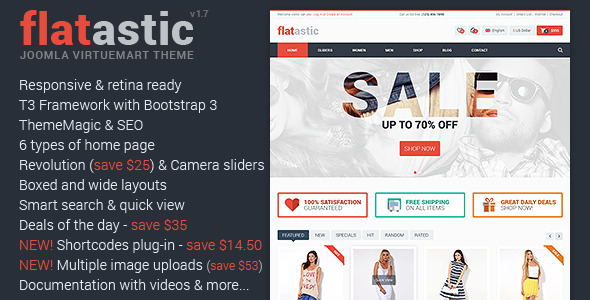 Flatastic Responsive Multipurpose VirtueMart Theme