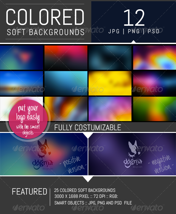 12 Colored Soft Backgrounds