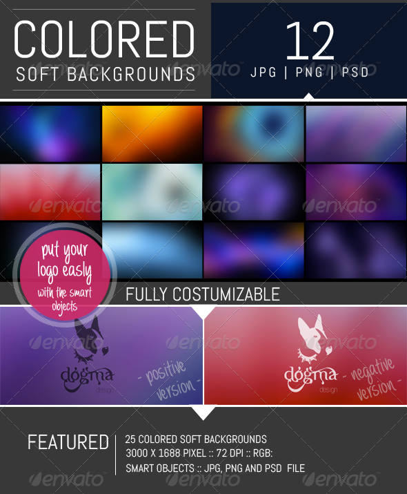 GraphicRiver 12 Colored Soft Backgrounds 8296832