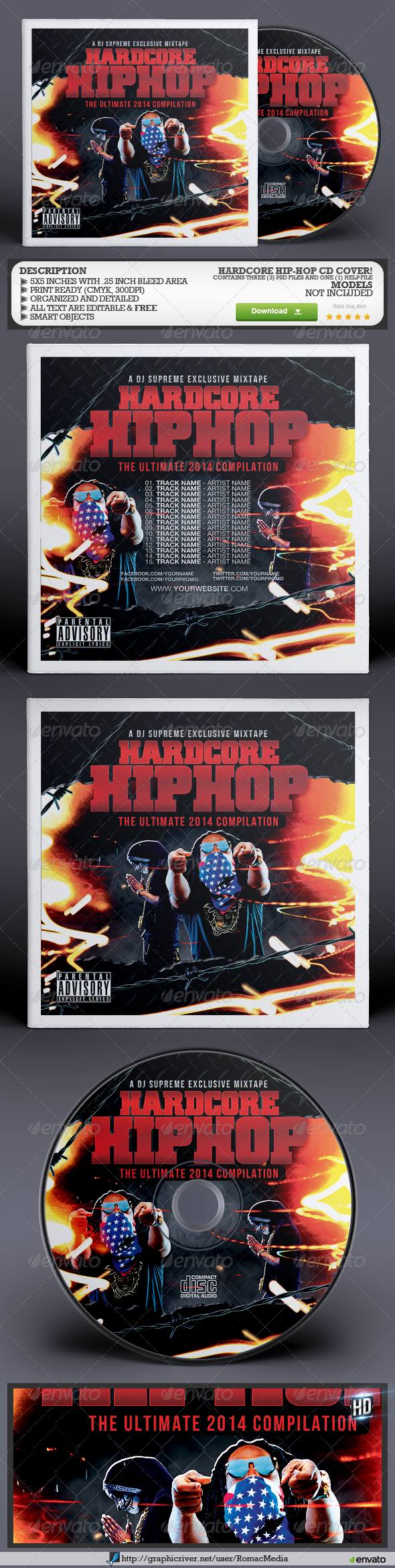 GraphicRiver Hardcore Hip-Hop CD Cover 8296886